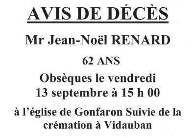 avis de décès M. Renard